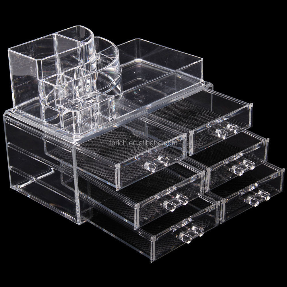 2017 hot style customized professional clear acrylic makeup organizer
