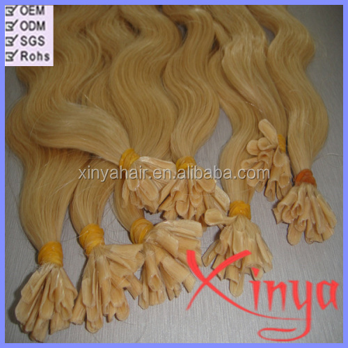 100% human hair The best Glue No Shedding Easy Remove keratin fusion hair extensions