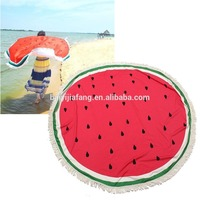 Hot sale cotton printed round beach watermelon blanket