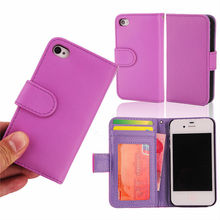 book style wallet leather ulak bulk cell phone case for iphone 4G 4GS