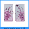 New plum blossoms Flower Card Slot Leather Cover wallet case for iPhone 4s 4(PT-I4L208)
