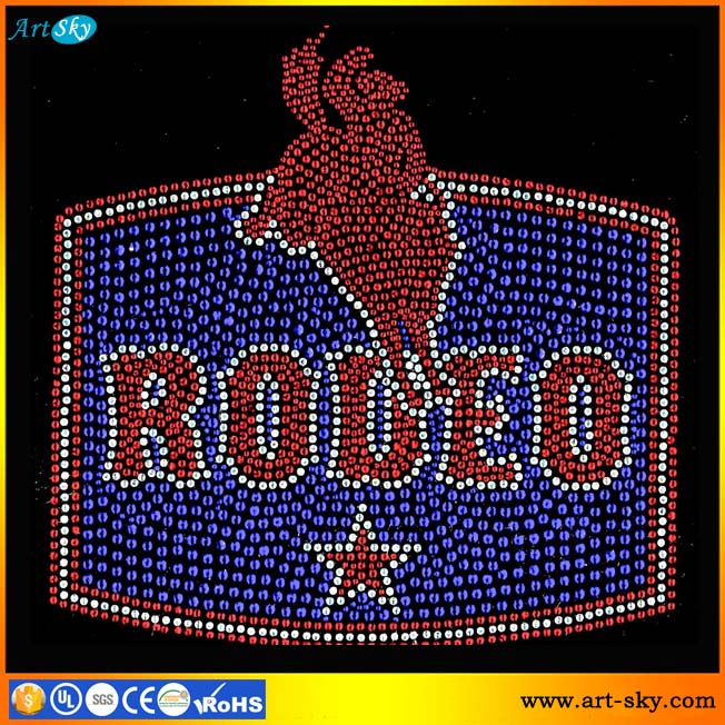 Artsky top supplier Quality assured Red Blue nailheads Rodeo Rider Star Horse iron on decorative patches