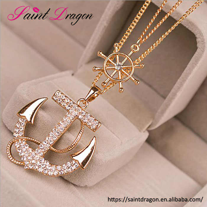 Fashion anchor pendant necklace jewelry three layer chain choker wholesale