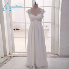 Queen Anne Floor Length Pleat Chiffon Lace Vintage Mother Of The Bride Dresses