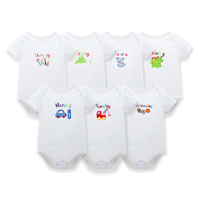 7 Pieces/lot From Monday to Sunday Designs Short Sleeves Baby Boy Bodysuits