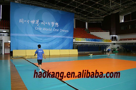PVC vinyl volleyball court sports flooring with 8mm thickness