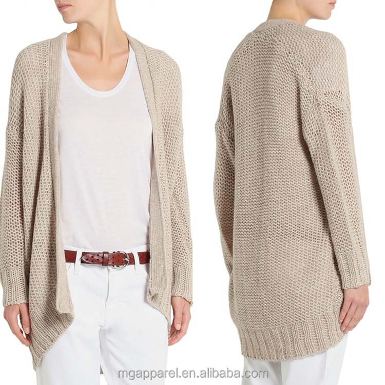Wholesale Ladies Hand Knitted Cardigan Beige Long Sleeve Knitted Cardigans Sw...