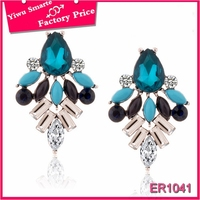 Hot new 2016 thai fashion summer jewelry delicate fancy hanging blue acrilic stone earrings for party girls