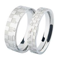 Creative stainless steel color small squares couple rings