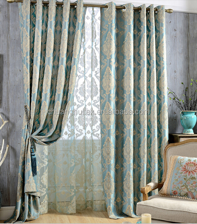 high density luxury jacquard blackout curtain fabric