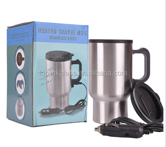 16oz Electric Heated Travel Coffee Cup Mug + Car 12V Adapter+USB , Double Wall Stainless Steel Car Travel Mug