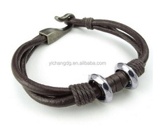 2015 Fashion Jewelry Wholesale, Mens Womens Leather Bracelet, Bangle, Brown Silver