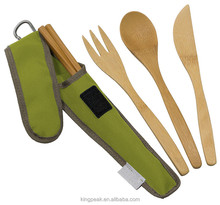2017 Best Selling Reusable Bamboo Travel Cutlery set/Utensil Set with Carrying Case/camping spoon fork carrying bag