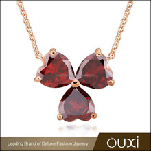 OUXI fashion new design best friend fancy long chain heart shape three leaf clover ruby necklace