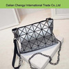 Wholesale two usage geometric pattern girls pu shoulder chain bag