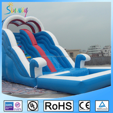 pretty blue inflatable spray water slide with pool, inflatable sea wave slide for amusement