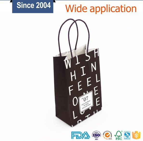 Custom design logo printed kraft paper shopping bag for small product with handle