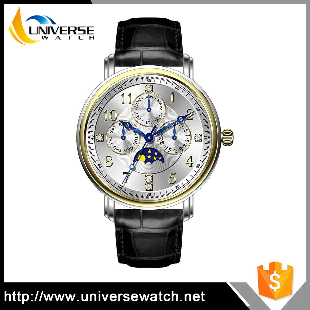 Fashion Leather Automatic Wristwatches Young Boy and Young Girl Watches