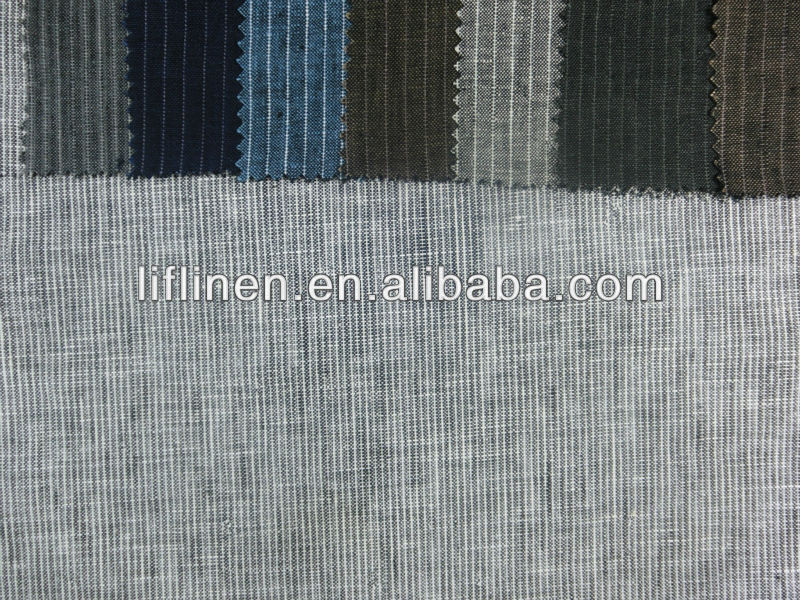 100% linen grey stripe fabric