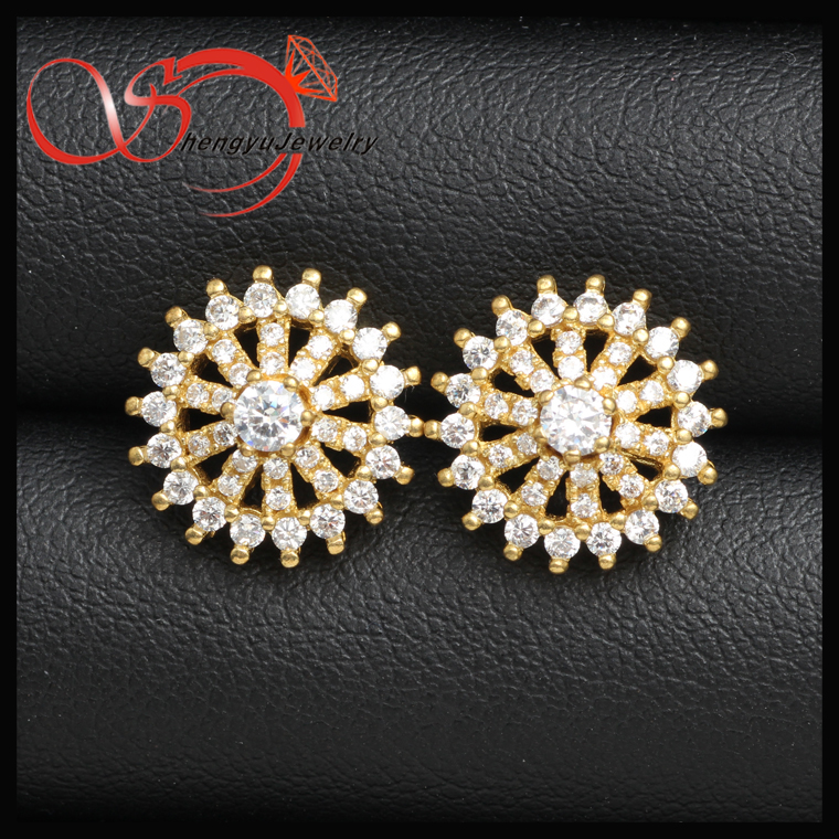 copper earring wheel shape shinning cz stone China supplier