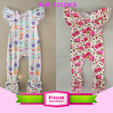Arrow Print Wholesale Infant Toddlers Clothing Flutter Sleeve Icing Ruffle Bodysuit Kids One Piece Jumpsuit Baby Long Leg Romper