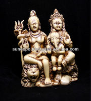 "Hand Carved Meditating God Shiva Parvati and Nandi Ganesh Resin Wall Hanging Statue Size 5""x4"""