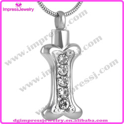 IJD8044 silver dog bone with high quality crystal pet ash urn pendant memorial cremation jewelry for pet