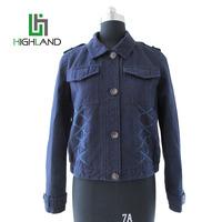 New style long sleeve jacket short washed coat denim cotton womens shirts