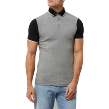 Grey contrast sleeve muscle fit man polo t shirt