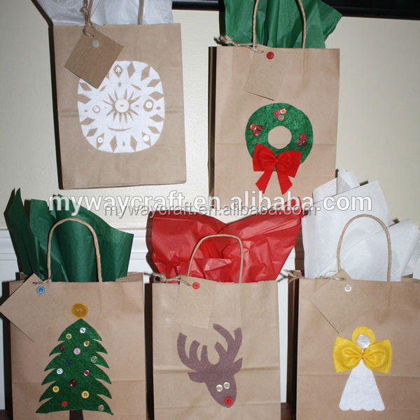 custom printed brown kraft paper christmas gift bag with hang tag