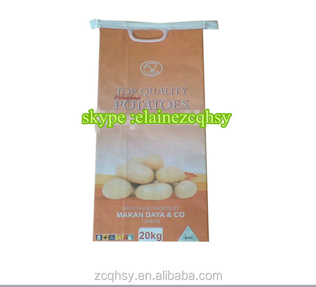 paper plastic lined kraft paper pp coated packing bags for potatoes packing 5kg 10kg 20kg , poly-plastic potato sacks with holes