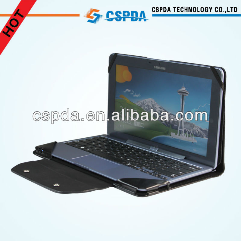 New Arrival Black Leather Keyboard Stand Case For Samsung ATIV Smart PC 500T1C