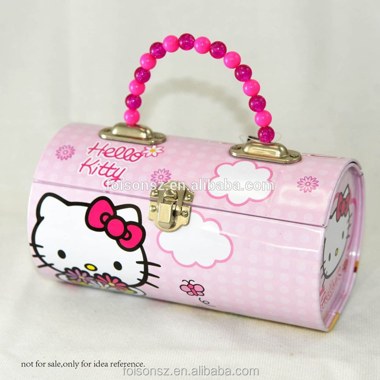 factory supply customized cylindrical shape handle tin bag wedding gift box for candy