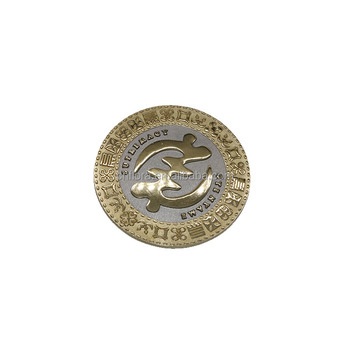 3D double plated gold souvenir coin