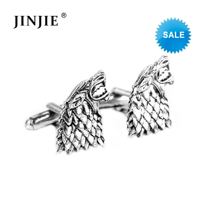 STC344 Game of Thrones Stark Cufflink Cool Mens Shirt Accessory Wolf Head Animal Cuff Links Silver Plated