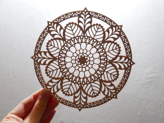 laser cutting hollow wooden flower for home wall decoration