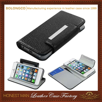 High quality PU leather flip cover mobile phone case for iphone 5 5S wholesale