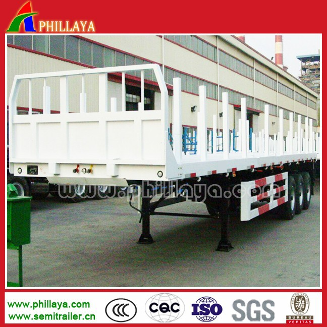Bulk Cargo Transport Flatbed Semi Trailer/Timber Trailer With Side Posts/Guards