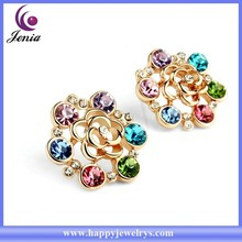 Alibaba express flower stud earring colorful Austrian crystal 18k gold walmart fashion jewelry (YWE5024-2)