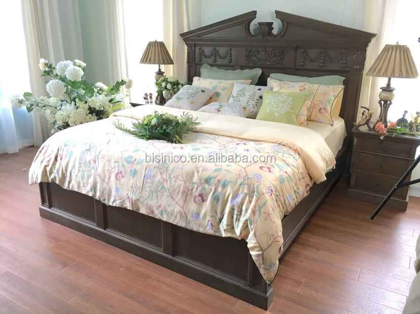 French Provincial Bedroom Furniture/European Traditional Hand Carved King Size Bed/Royal Palace Solid Wood Bed WithVivid Carving