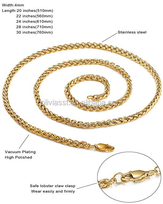 Guangzhou Jewelry 4mm Mens Womens Stainless Steel Wheat Chain Necklace With Gold