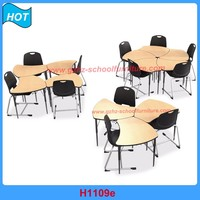 School Furniture Combine Round Wooden Table and Chair For 5 kids