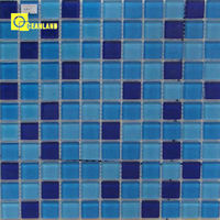 modern blue swimming pool glass mosaic tile