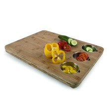 Manufacturer 100% Healthy Bamboo Cutting Board with 3 Pieces Stainless Steel Bowl Bamboo Pro Chef Butchers Block with Prep Bowl