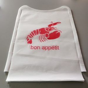 Disposable plastic lobster bibs with pocket