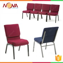hotsale wholesale stacking interlocking cheap fabric cushion commercial furniture iron metal used church chair with book rack