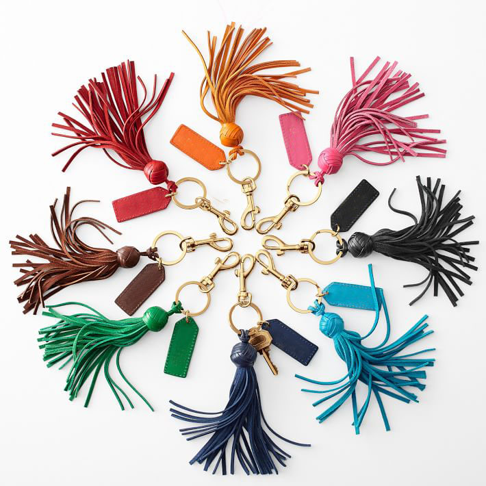 genuine leather Leather Tassel Key Chain fob