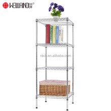 New Product 4 Tiers Square Chrome Sundries Storage Wire Shelving