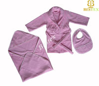 Soft Pink Cotton Velour Toweling Newborn Baby clothes set