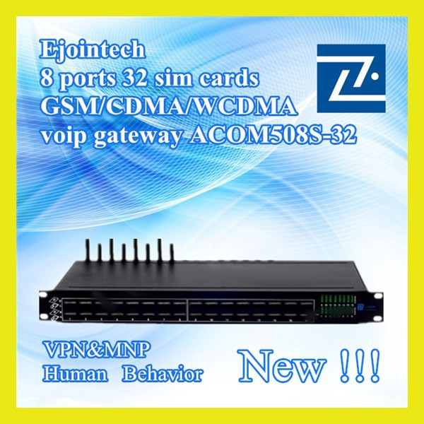 8 ports 32 cards cross-network goip gsm change imei voip sip adapter gateway with sim card